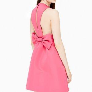 NWT Kate Spade pink satin faille bow back dress